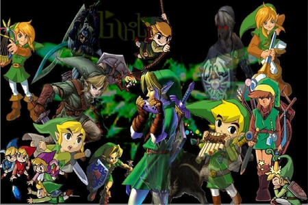 The Legend of Legends - red, majoras mask, windwaker, link, oracle of seasons, ssbb, spirit pipes, video games, minish cap, green, twilight princess, harp, ocarina of time, sword, blue, ezlo, dark link, rod of seasons, sheild, oracle of ages, the legend of zelda, rupee, feather pen, four swords, zelda, vio, phantom hourglass, map, spirit tracks