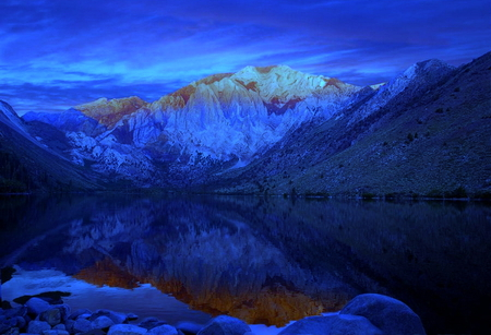 Mountains reflected over the water - water, mountains, reflected, sky, over, lake, blue, night