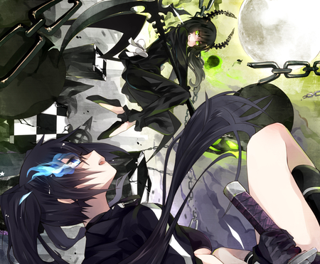 black★Rock Shooter - dress, boots, two girls, checkhered, horns, figther, moon, scythe, black rock shooter, hot, anime girl, sword, dead master, chain, female, sexy, growing blue, cool, growing eye