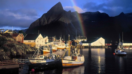 rainbow in norway - travel, rainbow, sky, clouds, boats, photography, mountains, beauty, nature, scenery