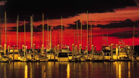 red black and gold - boats, photography, beautiful, sunset, reflection, clouds, sky, scenery