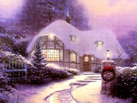 COUNTRY HOME - tree, house, christmas, snow, lights, winter