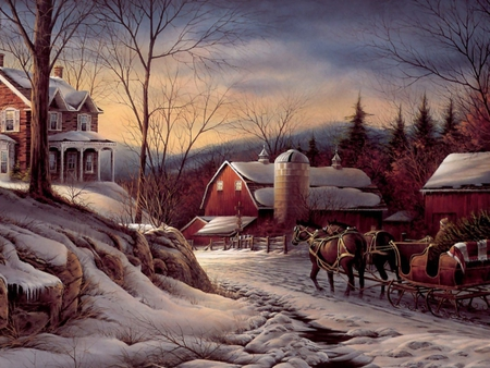 Country Christmas Background.Country Christmas Winter Nature Background Wallpapers On
