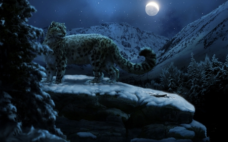 Snow Leopard At Night - forest, abstract, art work, mountain, moon, 3d, snow, dark, night