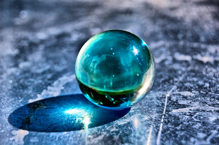 Blue Glass Ball - blue, photography, glass ball, abstract, blue ball, ball, beautiful, reflection, glass