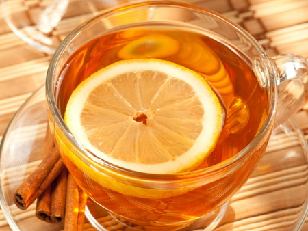 Lemon tea - fruit, glass, slice, cinnamon, yellow, tea, lemon