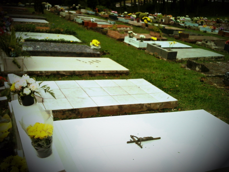 Peace belong to Death. - flowers, graves, cross, cemetary