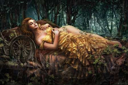 Sleeping Beauty - forest, beauty, fairytale, abstract, woman, fasntasy, art work