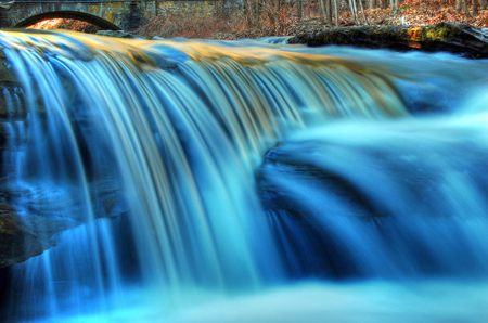 Amazing blue - amazing, waterfall, nature, hdr, blue
