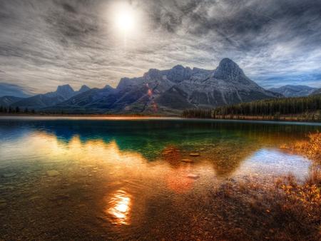 Colorful lake - sunset, lake, sky, nature, mountain