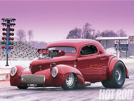 41 Willys - 1941, red, blown motor, ford