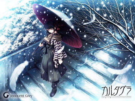 Walking Umbrella. . . In the Snow - girl, snow, anime, anime girls, umbrella, walking, winter, cold