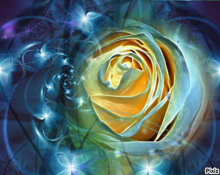Blue Fractalius Rose - stars, rose, blue, fractal, digital art, nature, fractalius