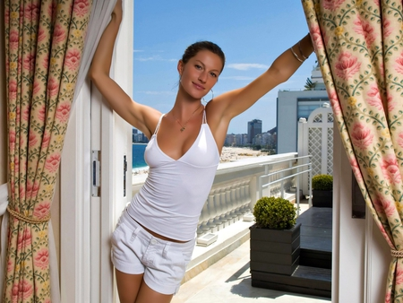 Gisele Bundchen - gisele bundchen, lovely, view, curtains, hot, smile, white