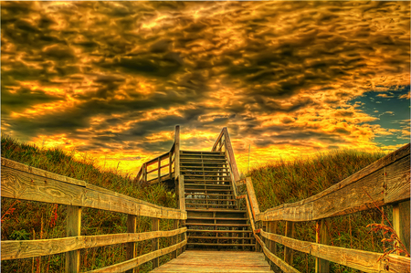 To heaven.. - amazing, special, glow, golden, stairs, abstract, sky, clouds, gold, beauty, hdr, wood