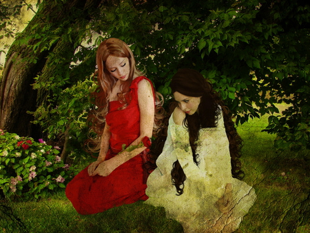 Snow white and Rose red - ladies, rose red, beautiful girls, snow white, sisters, story, girls