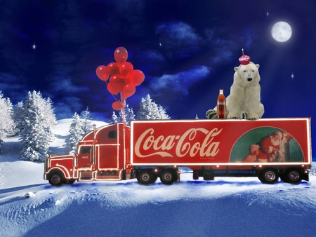 Coca Cola Truck And Bear Other Cars Background