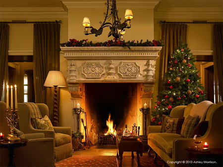 Christmas houses architecture background wallpapers on - Living room with fireplace images ...