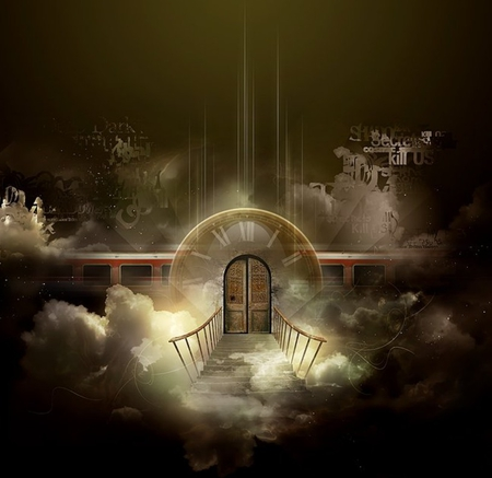 Time To Go - time, stairs, abstract, clouds, door, fantasy, 3d, train, heaven