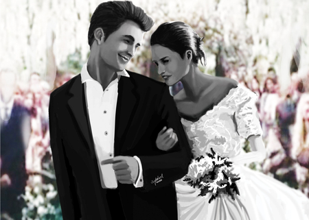 Twilight breaking dawn Edward Bella art by, sykolart - breaking dawn, honeymoon, bella, sykolart, twilight, love, edward, vampire, wedings