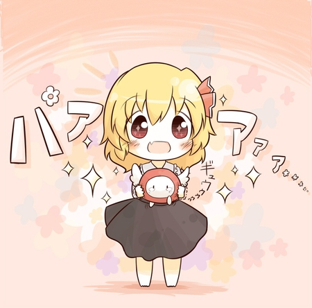 Chibi Rumia - colorful, ribbon, shrine maiden project, petit, chibi, cute, short hair, anime, black dress, touhou, rumia, anime girl, pink