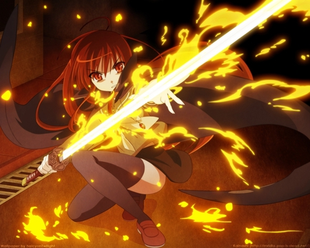 Anime - cute, flames, girl, anime