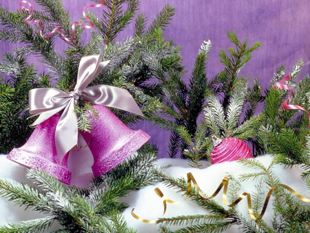 Pretty Christmas - pink, boughs, decorations, holiday, christmas, bows, bells, white