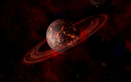 artistic planet - red, fire, moon, planet, galaxiy, hot, scifi
