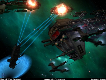 battle - gas cloud, explosions, fighters, starships, wormhole, firing