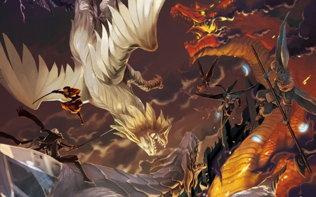 elemental dragon war - snow dragon, wing, clouds, dragon, dragons, warriors, rider, samurai, spear, feather, falcon, sword, feathers, fire dragon, red dragon, wings, cloud, war, axe, fire, fly, bird, white dragon, flying, magician