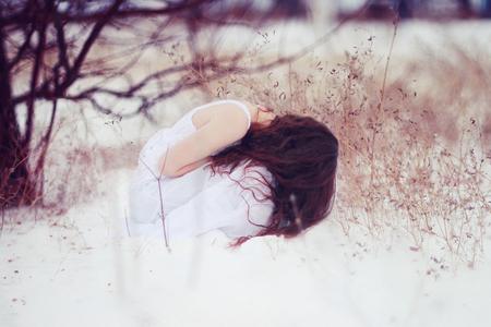 Winter Blues - photography, nature, beauty, sadness, blues, snow, winter, woman, girl, sad