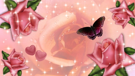 Shining Rose - hearts, peach, butterfly, firefox persona, sparkles, shine, pink, roses, summer, stars