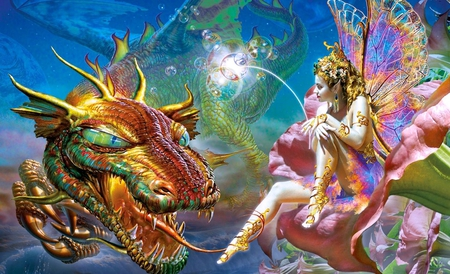 Dragon and Faerie - pretty, art, worm, legs, beautiful, serpent, magic, dragon, faerie, cgi, girl, drawing, painting, fairies, fairy, teeth