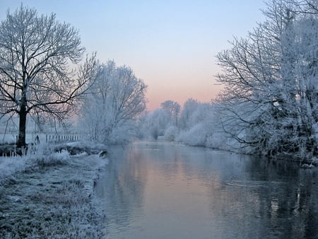 Winter view - view, beautiful, trees, sky, cold, winte, snow, nature, river, reflection, white, frozen, landscape