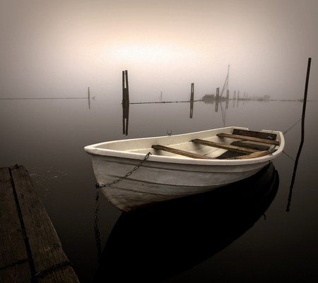 Morning fog - boats, water, personal boat, morning, lake, fog