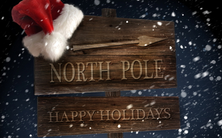 north pole - christmas, fun, cold, santa, travel, snow, presents, gifts, holiday, winter, hat