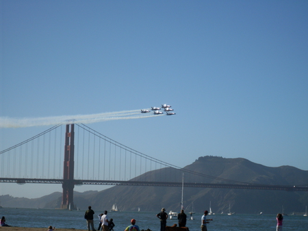 Angels by the Gate. - golden gate, air show, san francisco, blue angels
