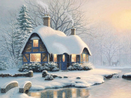 Nice Cottage Winter Amp Nature Background Wallpapers On