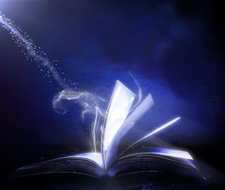 The magic of books - pages, reading, books, magic, blue, light