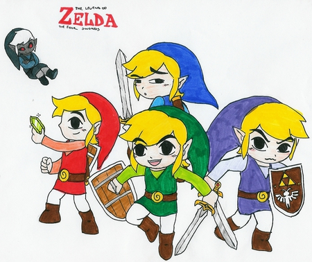 Four Swords - red, toon link, link, shadow, video games, sheild, green, four swords, vio, tunic, zelda, sword, blue, ruppee