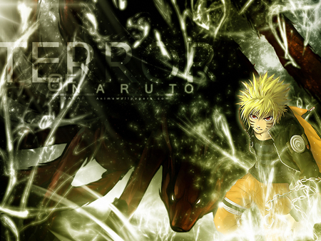 Uzumaki Naruto - spiky hair, jacket, anime, naruto shippuden, uzumaki naruto, ninja, naruto, naruto uzumaki, whiskers, kyuubi, tails, red eyes, nine-tailed fox