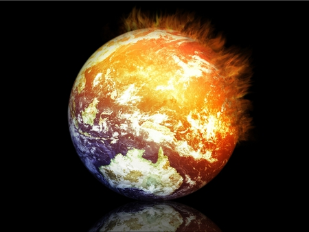 Earth on Fire - fantasy, planet, yellow, colors, science fiction, earth, mars