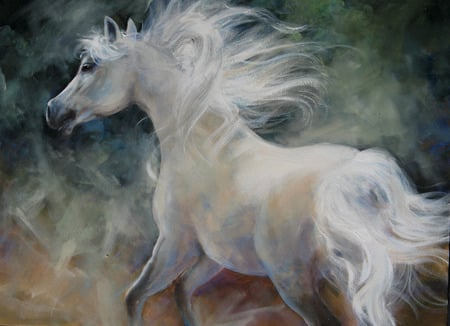 White Arab Horse Painting - painting, white horse, animals, horses, fantasy horse