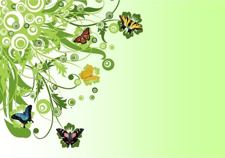 Butterfly Fantasy - butterflies, green, abstract, flowers, circles, fantasy, butterfly
