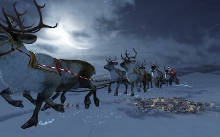 Santa - christmas, santa, nature, reindeer, 3d, snow, presents, rudolph, moon