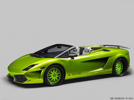 Lamborghini Gallardo LP550-2 Spyder - lp550 spyder, tuned lamborghini, green lambo, 2012, fast car, lambo, show car, lamborghini gallardo tuning, gallardo, green, wallpaper, car wallpaper, car, green lamborghini, green lp550, lamborghini spyder, spyder, lambo tuning, rims, supercar, lp550, beautiful car, lamborghini, tuning, nexus, kk designs, lamborghini gallardo, desktop nexus, 2011, virtualtuning