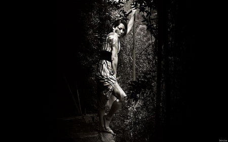 Lucy Liu - dress, pic, lucy liu, dark, garden