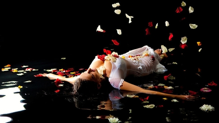 ♥My Soul Flutters♥ - dress, romance, woman, purity, grace, lake, classy, photography, rose petals, water, love, flowers, white