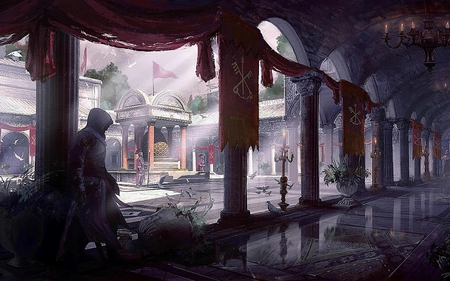 Altair - hd, action, assassins creed, cg, ubisoft, altair, video game, game, concept art, assassin, spy, adventure, fantasy, environment