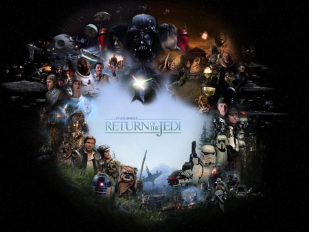 return of the jedi collage - star destroyers, death star, darth vader, endor, the empire, ewks, rebels